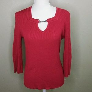 Requirements 3/4 Sleeve Scarlet Rib Knit Sweater M